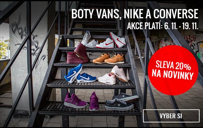 20% sleva na novinky - boty Vans, Nike a Converse