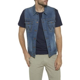 Wrangler DENIM VEST ROUGHHOUSE